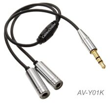 6 inch 3.5mm Stereo Male to 2-Female Audio Headphone Y-Splitter, Silver/Black