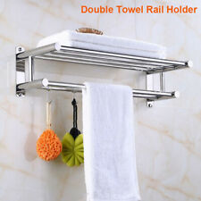 UK Double Towel Rail Holder Wall Mounted Home Bathroom Chrome Storage Rack Bar