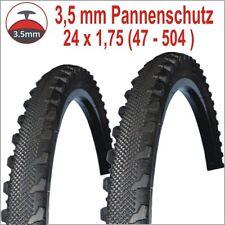 """2 x Fahrrad Reifen 24x1.75 / 47-504  mit 3,5 mm Pannenschutz Decken Mäntel 24"""""""