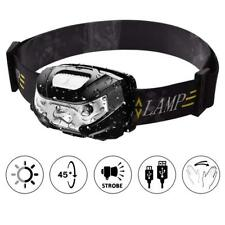 USB Rechargeable Headlamp LED Head Light Torch IPX4 Waterproof Smart Sensor