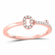 10kt Oro Rosa Mujer Diamante Redondo Llave Apilable Anillo de Banda 1/8 Cttw