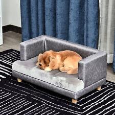 Pawhut Pet Sofa Couch Wooden Plush Cover Foam Cushion Grey - 68L x 41W x 32H cm