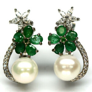 NATURAL 8 mm. WHITE PEARL, GREEN EMERALD & CZ EARRINGS 925 STERLING SILVER