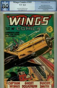 WINGS COMICS #103- PGX 8.0  POST WWII COMIC-FAWCETT 1949-GHOST SQUAD