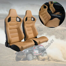 2pcs Tan Racing Seats Sport Brown Beige Leather Car  Reclinable Seats W/2 Slides