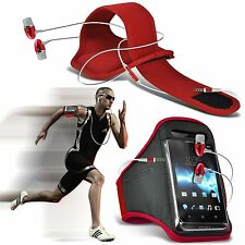 Quality Sports Armband Gym Running Phone Case Cover+In Ear Headphones✔Red