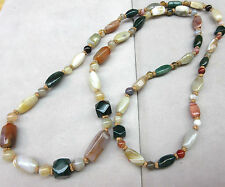 """Antique Chinese export Bead Blood jade,Agate,Carnelian Necklace 42"""""""