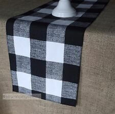 Black and White Plaid Buffalo Check Table Runner Gingham Country Kitchen Decor