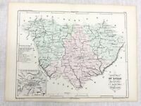 1853 Antique French Map Le Puy Loire Valley France Hand Coloured Engraving