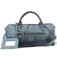 Auth BALENCIAGA Logos Classic 2Way Shoulder Hand Bag Leather BE Mirror 88B221
