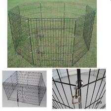 METAL DOG PLAY PEN PLAYPEN PET PUPPY RABBIT, 8 SIDED RUN DIFFERENT SIZES, BLACK