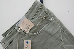 Marks and Spencer Ladies Denim Cotton Boyfriend Shorts Size20 EUR 48 Karki Tags