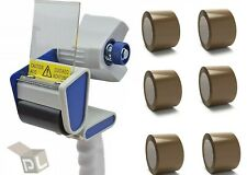 "6 Rolls 2"" x 110 yd Brown Packing Tapes 2.0 Mil + Free 2 Inch Tape Gun Dispenser"