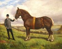 19th Century Prize Suffolk Punch Stallion Horse Portrait & Owner Oil Painting