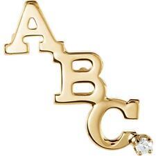 14k Yellow Gold Diamond Block Initial Collar or Lapel Pin