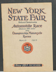 RARE! 1925 New York State Fair Nat'l Championship Auto & Motorcycle Race Program