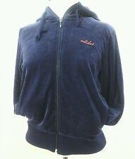 ADIDAS Womens Blue Velour Zip Up Hoodie Jacket Embroidered Medium M RARE !!!