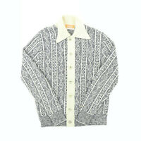 "VTG 60s 70s Jantzen Men Medium 39"" Button Cardigan Sweater Collar Stripe White"