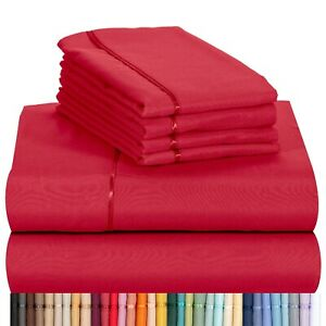 """Bamboo Sheet Set 6 pc 18"""" Deep by LuxClub - Full Queen King California 30 Colors"""