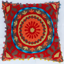 """16x16"""" Indian Cotton Pillow Cases Handmade Suzani Embroidery Cushion Cover IFC8"""