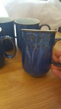4 denby blue mugs with flower detail