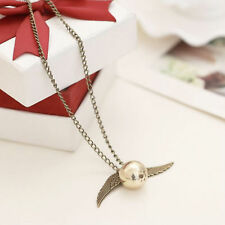 Golden Coppery Snitch Necklace, Harry Potter jewelry Angel Wings Pendant New