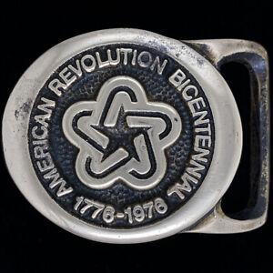Tech Ether Guild Bicentennial 1976 Patriotic Brass 1970s Vintage Belt Buckle