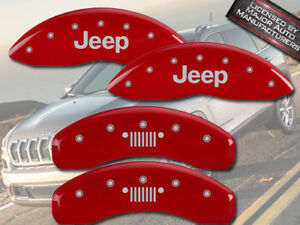 2014-2015 Jeep Cherokee Latitude Front Rear Red MGP Brake Caliper Covers Grill
