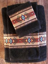 WESTERN/SOUTHWEST DECOR 3 PC TOWEL SET,MIDNIGHT BLACK,AZTEC   BORDER,GORGEOUS