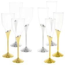 Plastic Wine Champagne Glasses Gold Silver Disposable Tableware Party Pub