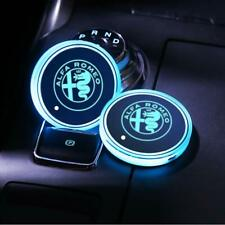 2pcs 7 Color LED Car Cup Holder Light Coaster Mat Pad For Alfa Romeo Xmas Gift