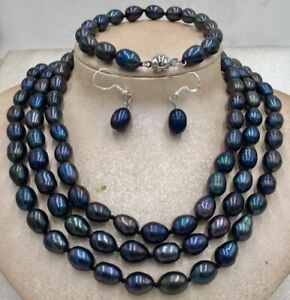 BLACK PEARL NECKLACE Bracelet earring 48inch 9-10MM TAHITIAN NATURAL Rice shape