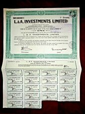 L.A.Investments Limited share certificate 1958 Canada