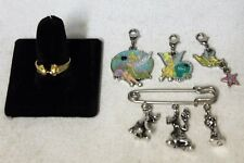 Lot of Disney Charms, Pin and Ring (Tinker Bell, Pluto, Goofy, Mickey Mouse)