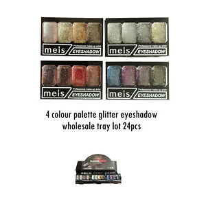90p 4 colour  glitter eyeshadow palette red silver gold wholesale tray lot 48pc