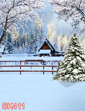 Xmas Tree Snow Winter  5x7 FT CP PHOTO SCENIC BACKGROUND BACKDROP SK411