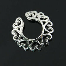 AU_ Non Piercing Clip On Surgical Steel Hollow Heart Women Nipple Shield Ring So