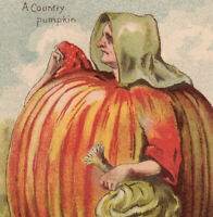 Country Pumpkin Lady Veggie 1800's Great American Tea Co NY Victorian Trade Card