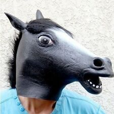 Black Horse Head Mask Animal Costume Theater Prop Novelty Latex Rubber Cover