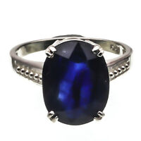 925 Sterling Silver Natural Certified 5.00 Carat Blue Sapphire Handmade Ring
