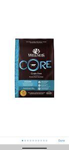 Opened Wellness CORE Grain-Free Ocean Whitefish Herring Salmon Dry Dog Food 12LB