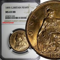 Great Britain Victoria Bronze 1895 1 Penny NGC MS65 RB More RED S-3961 KM# 790