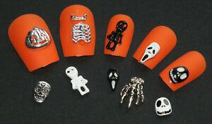 Nail Art Metal Alloy Charms SCREAM HALLOWEEN SCARY PUMPKIN 🎃 Skull ☠ Skeleton