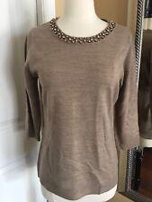 New York & Company Knit Beige Sweater Shirt Small
