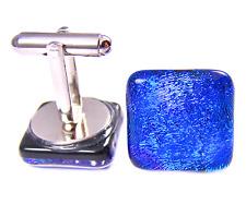 Cuff Links DICHROIC GLASS Blue Royal Cobalt Navy Sapphire Dicro Mens Formal Wear