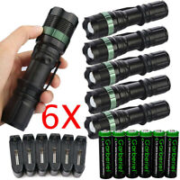Tactical T6 Flashlight Super Bright LED Rechargeable Zoom Torch Light Aluminum