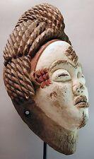 ORIGINAL WOOD PUNU MASK GABON AFRICAN KAOLIN WHITE ANCESTRAL CRESTED ETHNIX