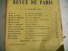 LA REVUE DE PARIS n° 13 - 1934 revue littéraire LAMARTINE GISCARD LACRETELLE etc