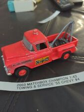 2003 Matchbox Champion Towing & Service Red '55 Chevy Truck - REPAINT 1:43 Scale