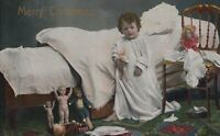 Postcard Merry Christmas Little Girls Hugging Doll  in Nightgown 1913